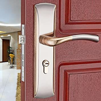 Daeou aleación de aluminio de puertas cerraduras interiores de las puertas cerraduras simples tiradores de puerta, cerraduras de hardware mango de madera ...