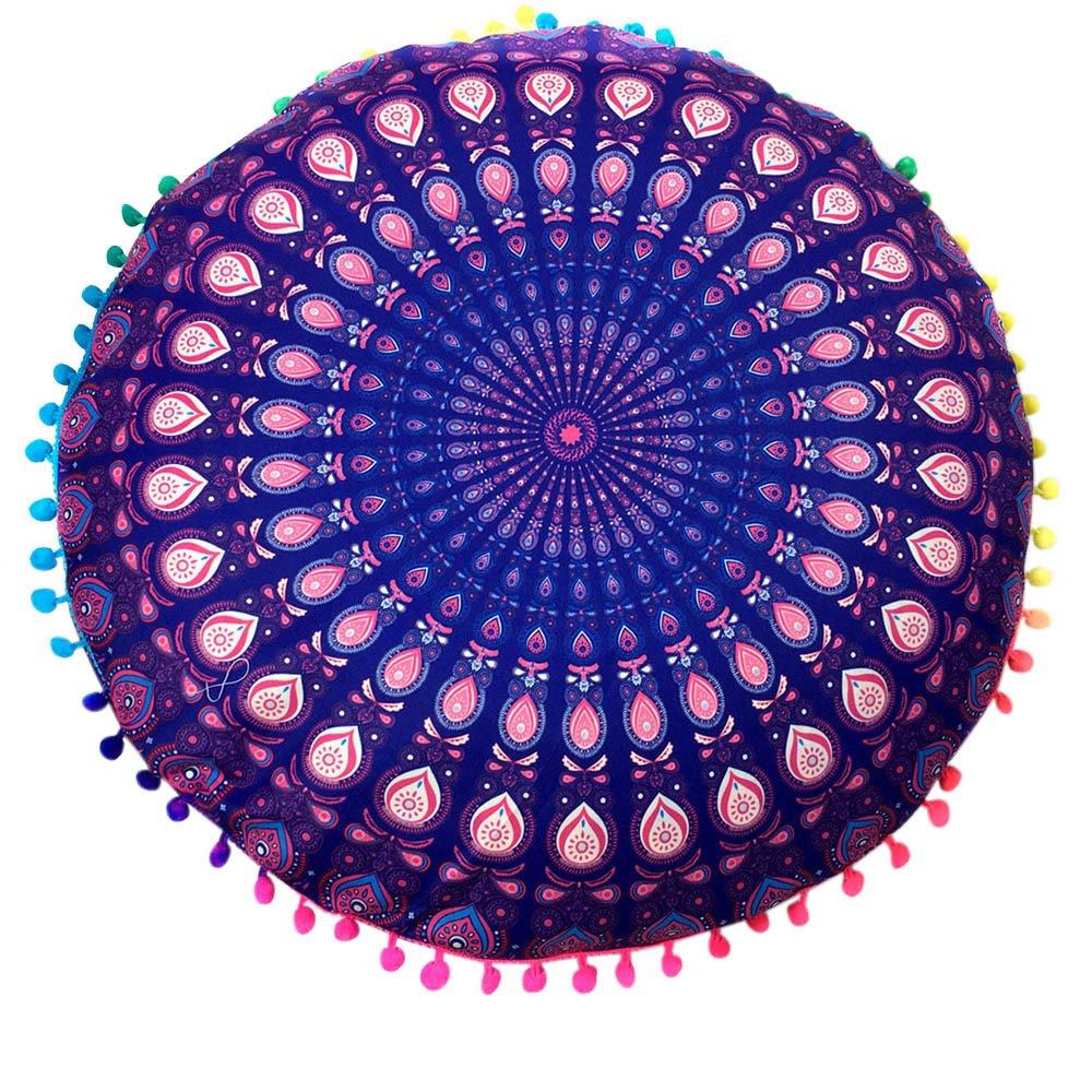 iYBUIA Folk-Custom Indian Mandala Floor Pillows Round Bohemian Cushion Cushions Pillows Cover Case