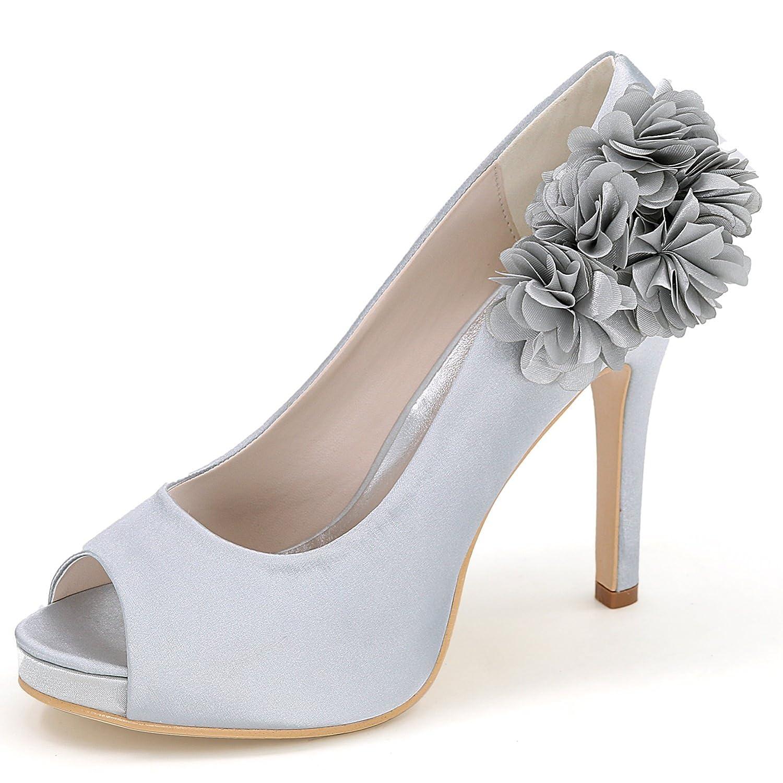 Argent Eleboeb Femmes Chaussures De Mariage Bout Rond éLéGant Talons Hauts Parti Peep Toe Plate-Forme   11cm Talon Satin