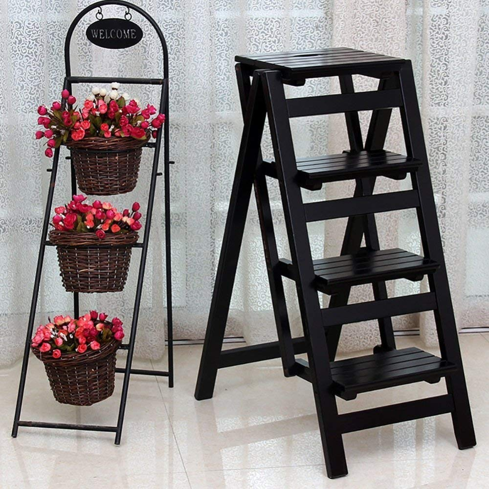 B Stool CZZ Staircase Stool, Wooden 4-Layer Step Multi-Function Ladder Home Folding Ladder Thickening Indoor Climbing Ladder