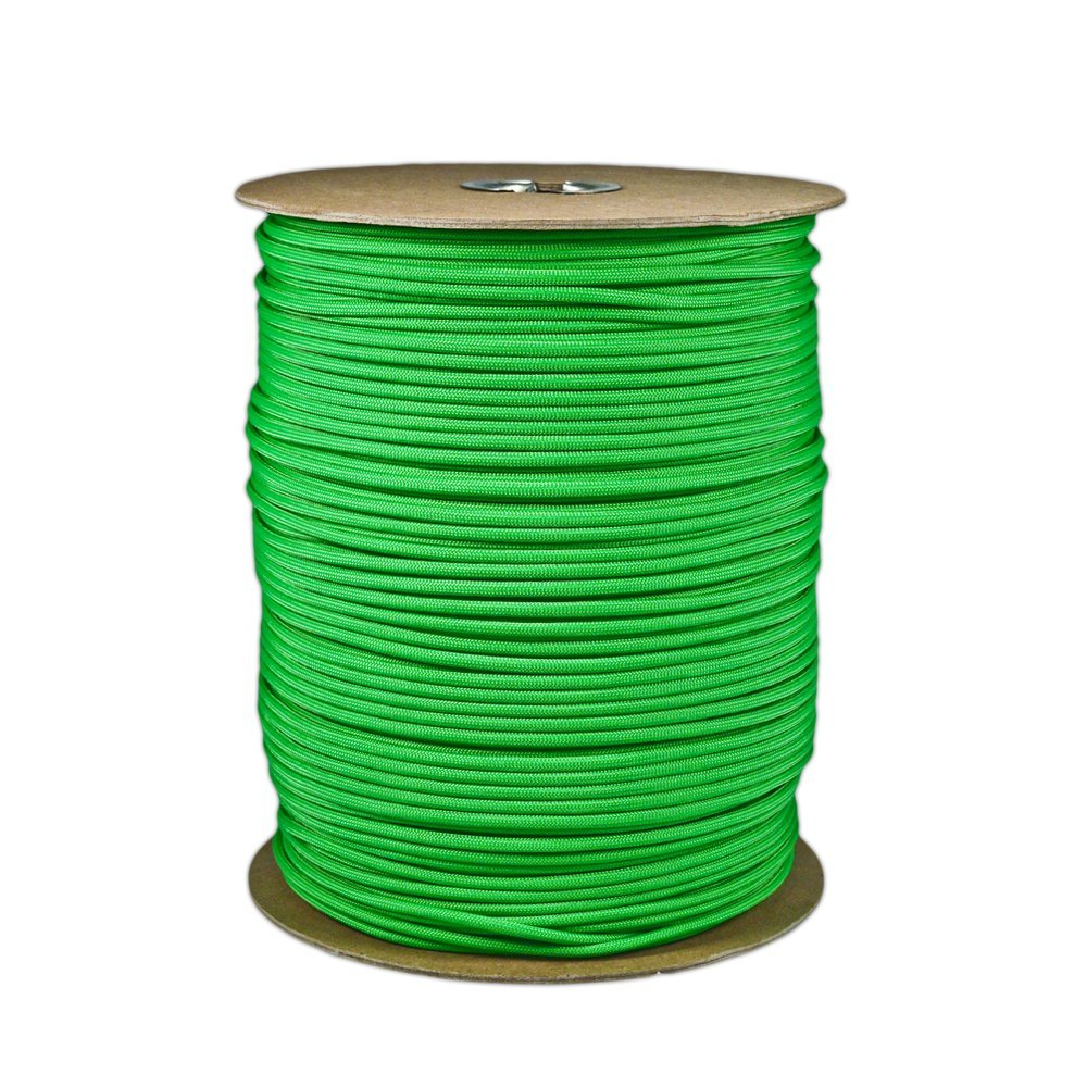 Rated for 550lbs 1,000 Parachute Cord Lime Green 7 strand 1000ft length