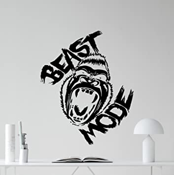 Beast Mode Gym Motivational Wall Decal Gorilla Monkey Bodybuilding Gym Decor  Fitness Vinyl Sticker Fitness Motivation