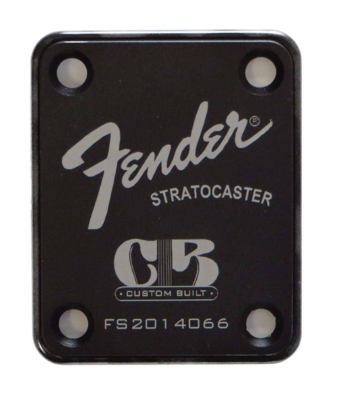 Fender Stratocaster Neck Plate with Custom Built logo - Black by LazrArt
