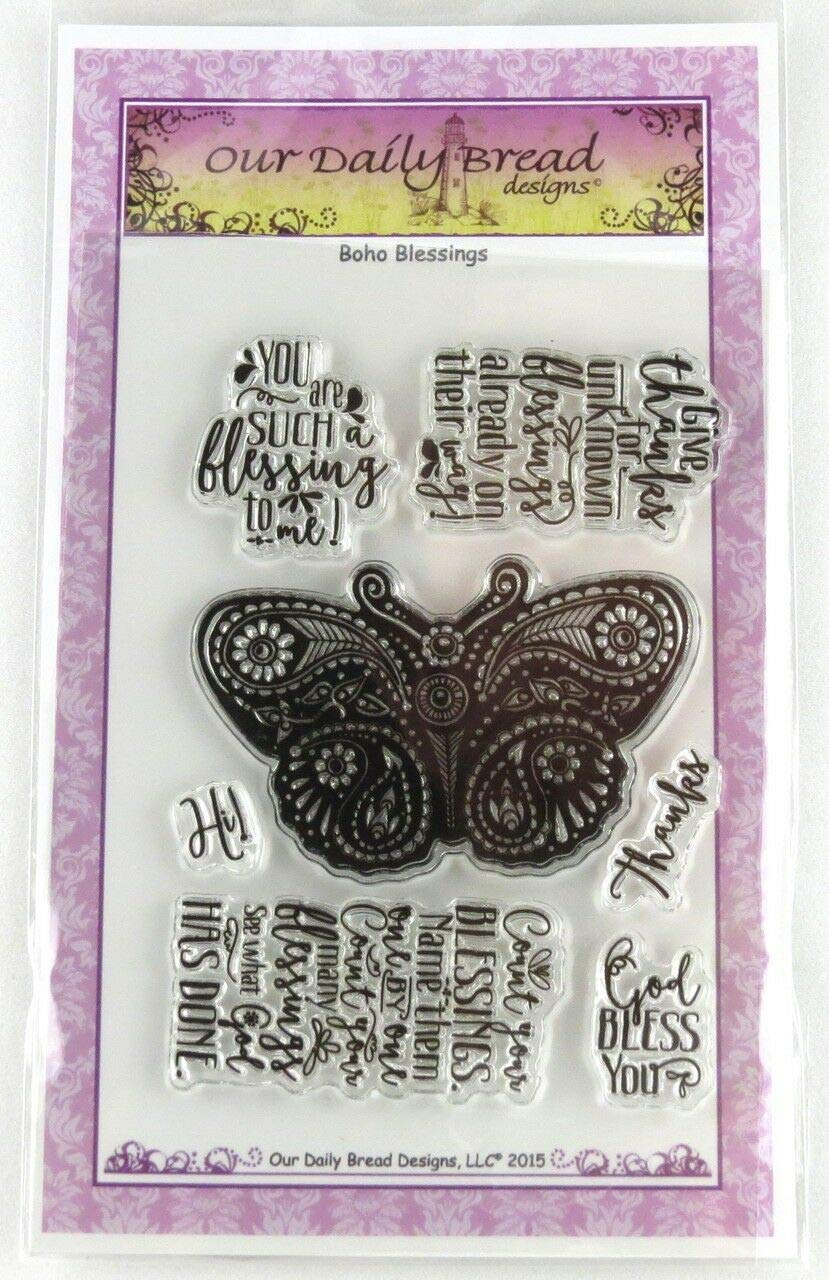 ShopForAllYou Stamping & Embossing Boho Blessings Clear Cling Stamp Collection Our Daily Bread New Butterfly Thanks