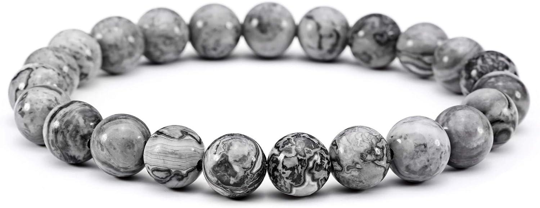 Jade cabbage Men Bracelets Natural Stone Healing Energy Balance Beads (8mm) Gray Stretch
