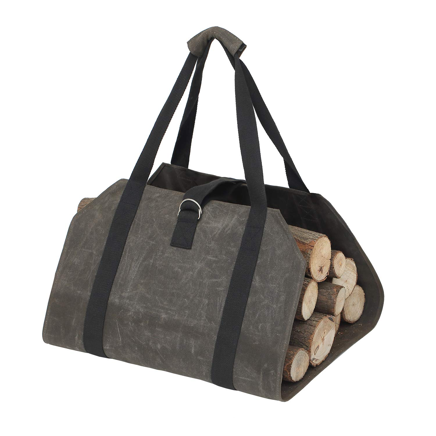Elezay Waxed Canvas Toto Bag Firewood Log Carrier Outdoor Indoor Holders Fireplace