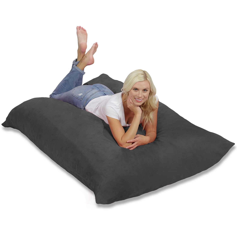 Chill Sack Huge Memory Foam Bean Bag Pillow, Charcoal: Amazon.co ...