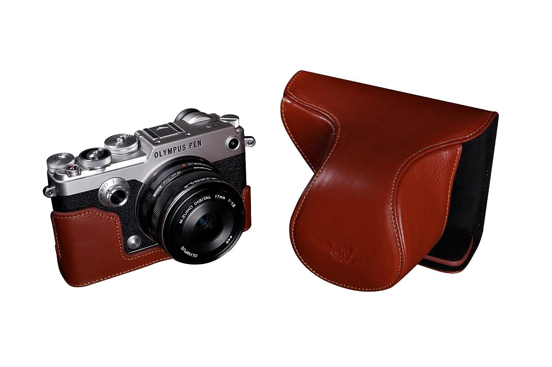TP OLYMPUS オリンパス PEN-F 用本革レンズカバー付カメラケース(12-17mm用) ブラウン B01K4PUJF6 カメラケース&ストラップTP1881&バッテリーケース