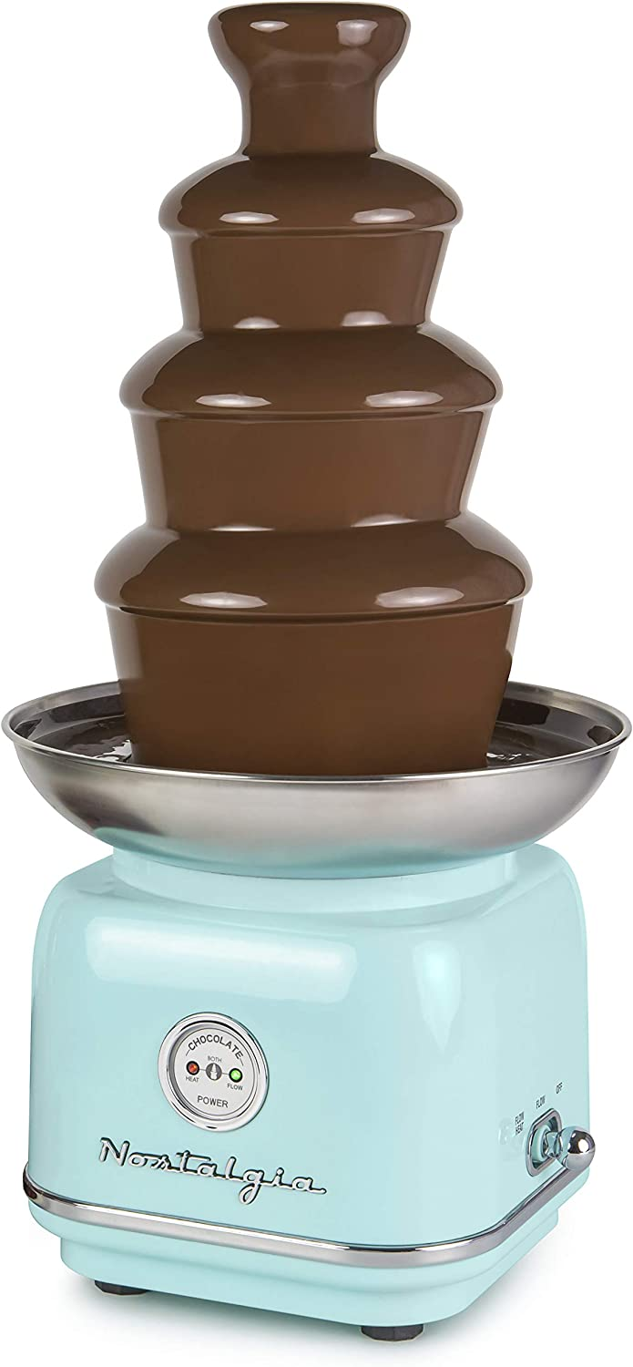 Nostalgia CLCF4AQ Retro Chocolate Fondue Fountain, 2-Pound Capacity, Easy to Assemble 4 Tiers, Perfect For Nacho Cheese, BBQ Sauce, Ranch, Liqueurs, Aqua