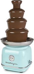 Nostalgia CLCF4AQ Retro Chocolate Fondue Fountain, 2-Pound Capacity, Easy to Assemble 4 Tiers, Perfect For Nacho Cheese, BBQ Sauce, Ranch, Liqueurs, Aqua