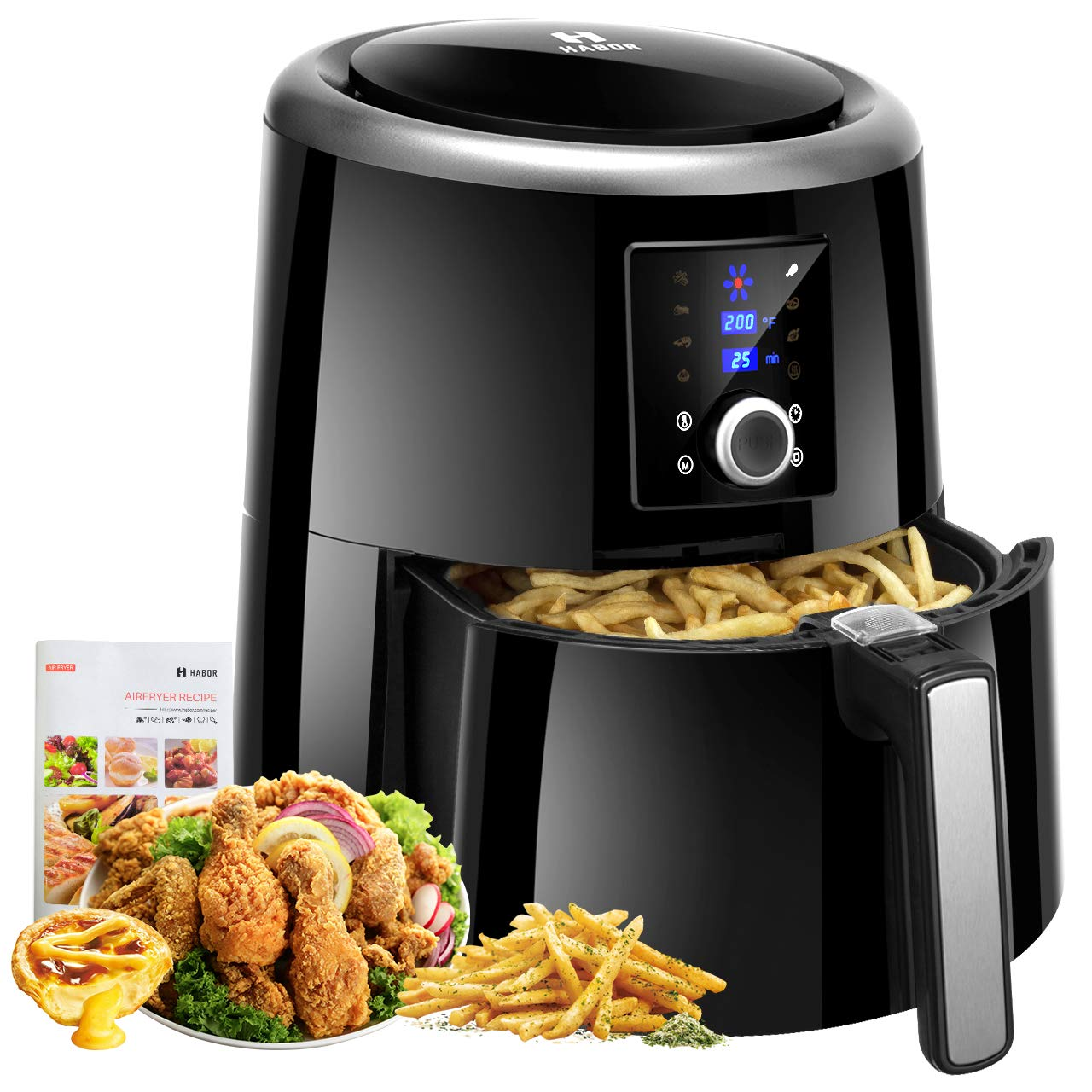 Habor Air Fryer XL, 5.8QT Oilless Air Fryer Oven, 7 Cooking Presets Electric Hot Air Cooker with Heat Preservation Function