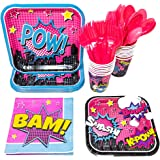 Superhero Girl Party Supplies (113+ Pieces for 16 Guests), Pink Hero Party Plates, Birthday Decorations, Napkins, Cups, Forks