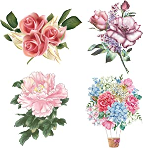 always88 4Pcs/Set Rose Peony Lavender Beauty Flowers Decals Flower Wall Stickers Waterproof Vinyl Self Adhesive Removable Art Murals for Living Room Bedroom Toilet Restroom House DIY Decoration