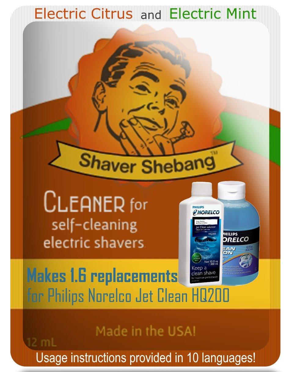 Equivalentes a 3, 2 botellas de Philips Norelco Jet Clean Solution HQ200 - Cítrico y Menta - 2 soluciones limpiadoras Shaver Shebang - Organek Living