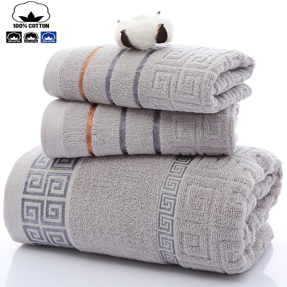 100% Cotton Towels (2PiecesX13. 8X29.5inches) Bath Towel (1PiecesX27. 6X55inches)- Multiple Use(Hands Face Shower Gym Spa) Dark Grey MuLinDa
