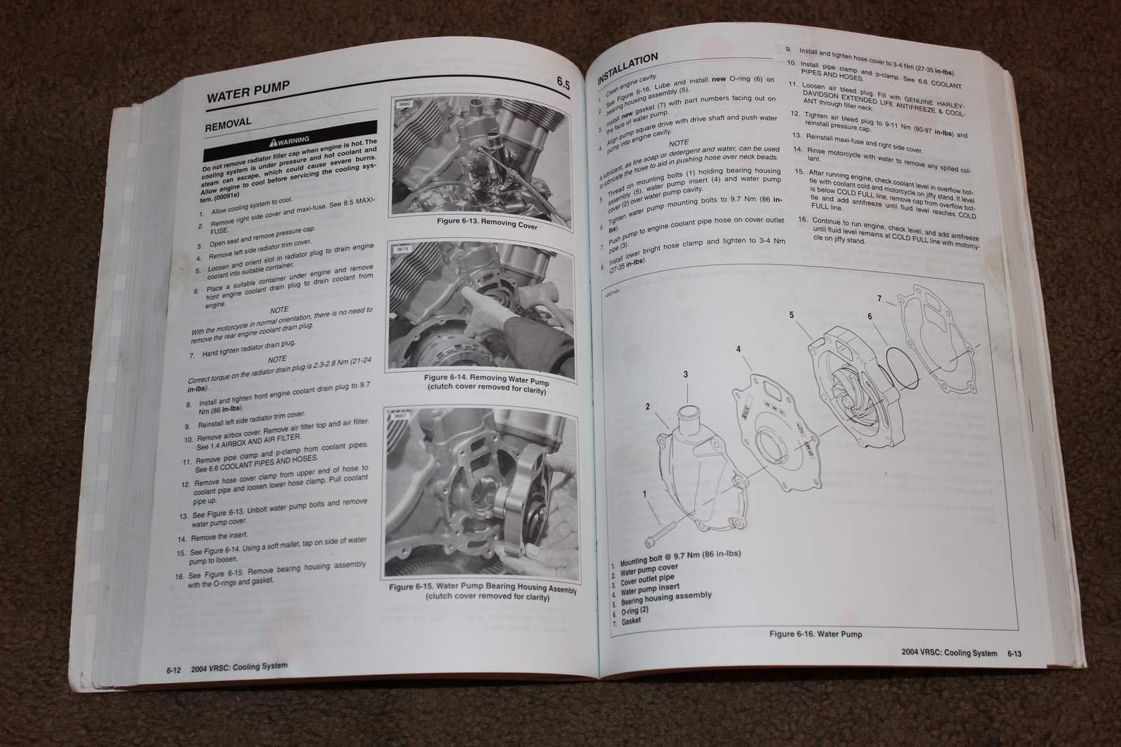 2004 Harley Davidson Vrsc Models Service Manual Vrod Part No Engine Coolant 99501 04 Motor Company Books