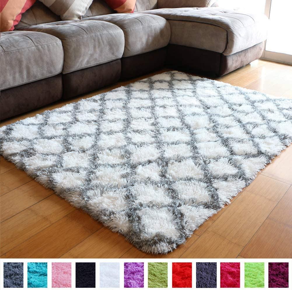 Ultra Soft Contemporary Shaggy Fuzzy Moroccan Geometric Quatrefoil Lattice Printed Fur Area Rug 4x5.3 Feet Indoor Shag Trellis Fluffy Carpets Rugs for Bedroom Living Room Home Decor (White and Grey)