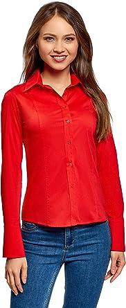 oodji Collection Mujer Camisa Básica de Algodón, Rojo, ES 36 / XS ...