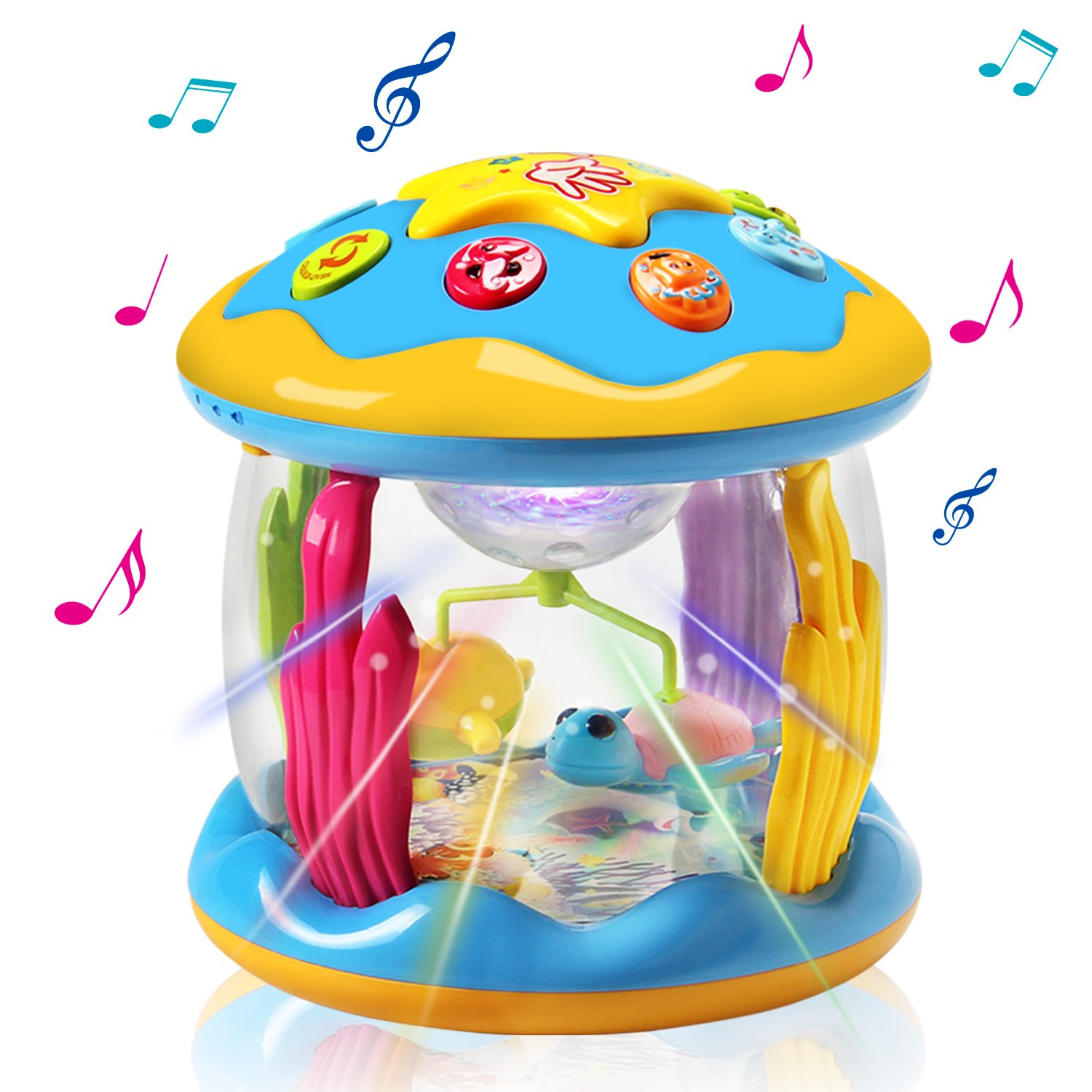 HOMOFY Baby Toys Ocean Park Rotating Projector,Various Pacify Music & Light,Super Fun,Early Educational Toys for 1 2 3 Year Girls and Boys Kids or Toddlers(BEST GIFTS) (red) (red)