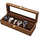 LOSKORIN Watch Box, Executive 6 Slots Watch Case with Valet, Glass Topped Wooden Watch Display Case Watch Organizer…