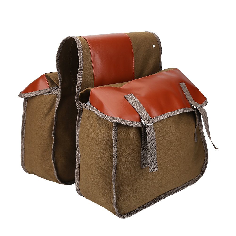 VGEBY Bike Rack Bag, Canvas Large Capacity Bicycle Saddlebag Rear Seat Bag for Road Mountain Bikes