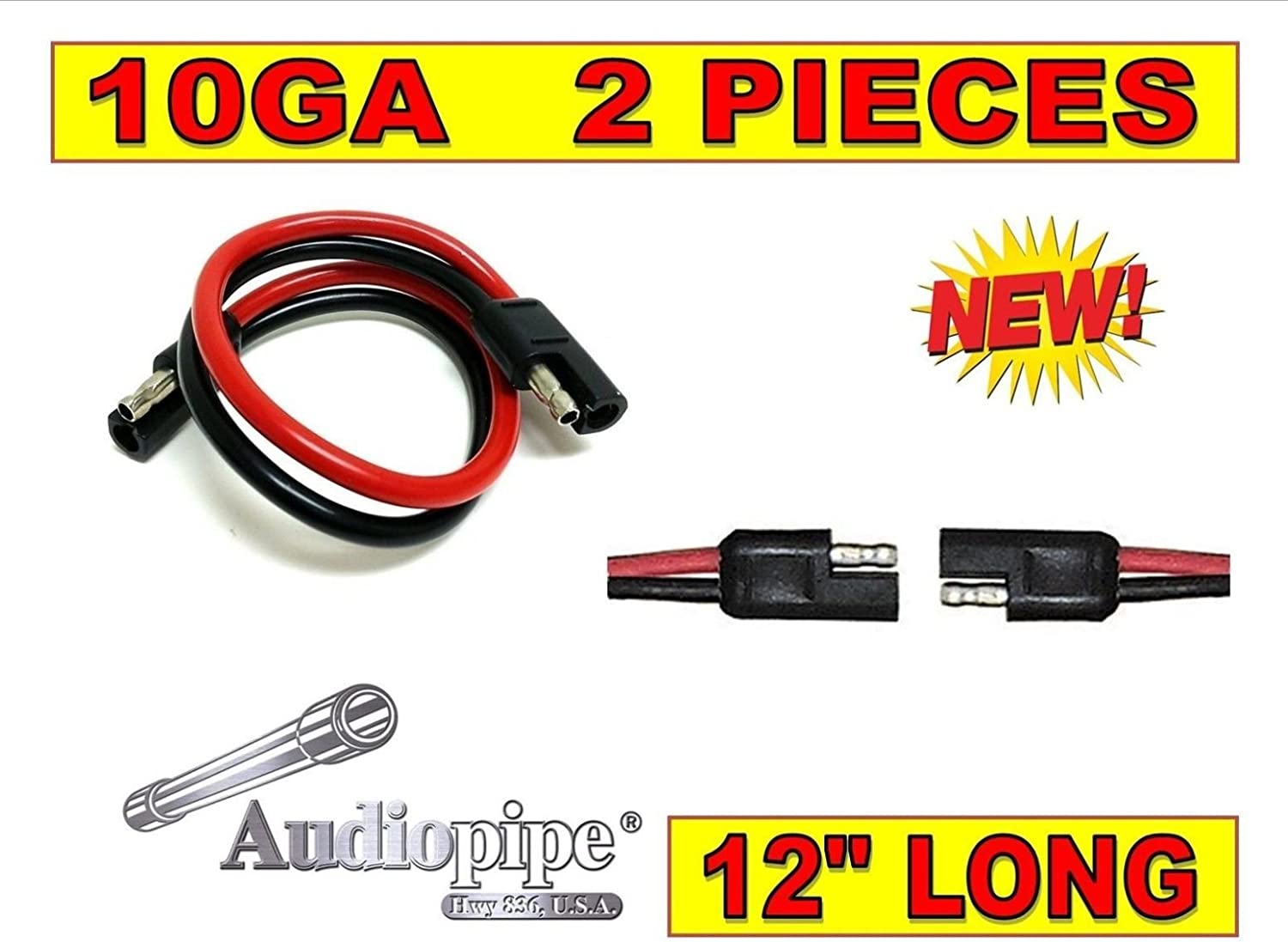 5 pack 12 10 Gauge 2 Pin Quick Disconnect Audiopipe Polarized Wire Harness
