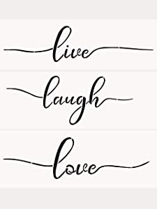 3 PCS Live Laugh Love Stencils AZDIY Reusable Stencil Set for Painting on Wood Laser Cut Painting Stencil for Home Décor & DIY Projects – Quote Word Stencil Set