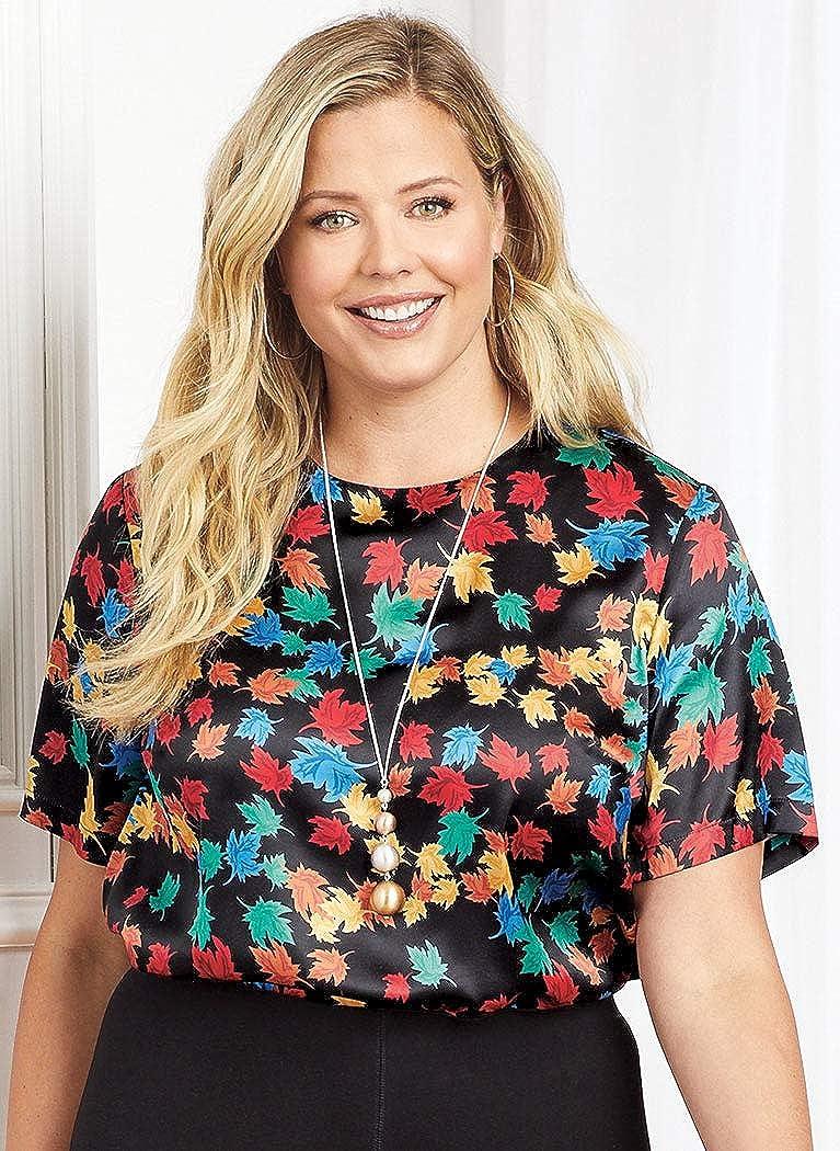 AmeriMark Satin Shell Classic Blouse Top for Women Short Sleeves Hip Length