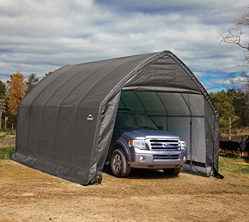 ShelterLogic 13 x 20 x 12 Garage-in-a-Box SUV and Full-Size Truck All-Season Metal Alpine Style Roof Portable Outdoor Garage 62693 ,Gray