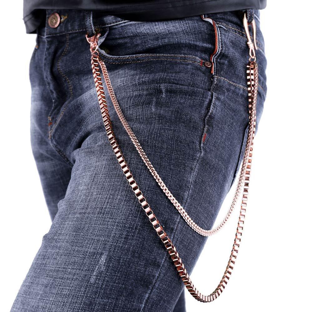 U7 Men Cool Box and Snake Chain Punk Trouser Long Wallet Key Chain - Rose Gold