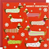 Festive Dachshunds Luxury Christmas Cards - Pack Of 8