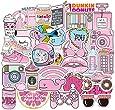 Pink Cute Laptop Stickers for Teens Girls Kids, Waterproof Aesthetic Random Vinyl Decal Pack for Water Bottle Travel Case Computer Phone Case Skateboard Trendy 50pcs