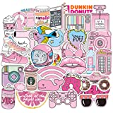 Pink Cute Laptop Stickers for Teens Girls Kids, Waterproof Aesthetic Random Vinyl Decal Pack for Water Bottle Travel Case Computer Phone Case Skateboard Trendy 50pcs