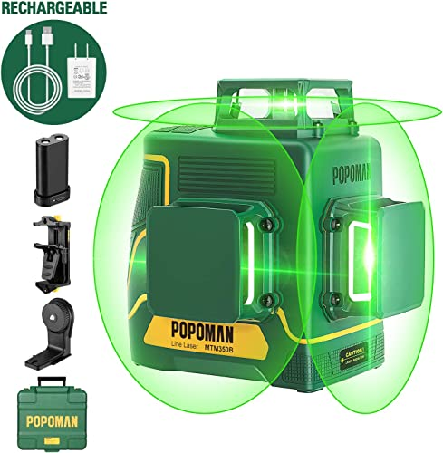 Laser Level 3D 3 x 360 , Line Laser Green POPOMAN, USB Rechargeable, Self Leveling and Pulse Mode, Magnetic Pivoting Base, Auxiliary Supporting Bracket, Carrying Case Include – MTM350B