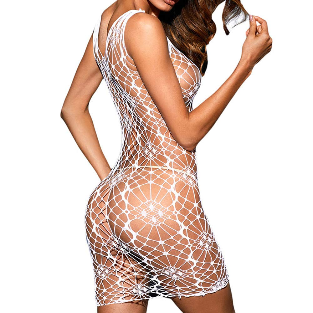 ❤ Vestido Encaje Hueco Perspectiva Sexy Mujer,Moda Ropa de Dormir Atractiva Lencería Tentación Babydoll Hollow out Underwear Absolute (tamaño Libre, ...