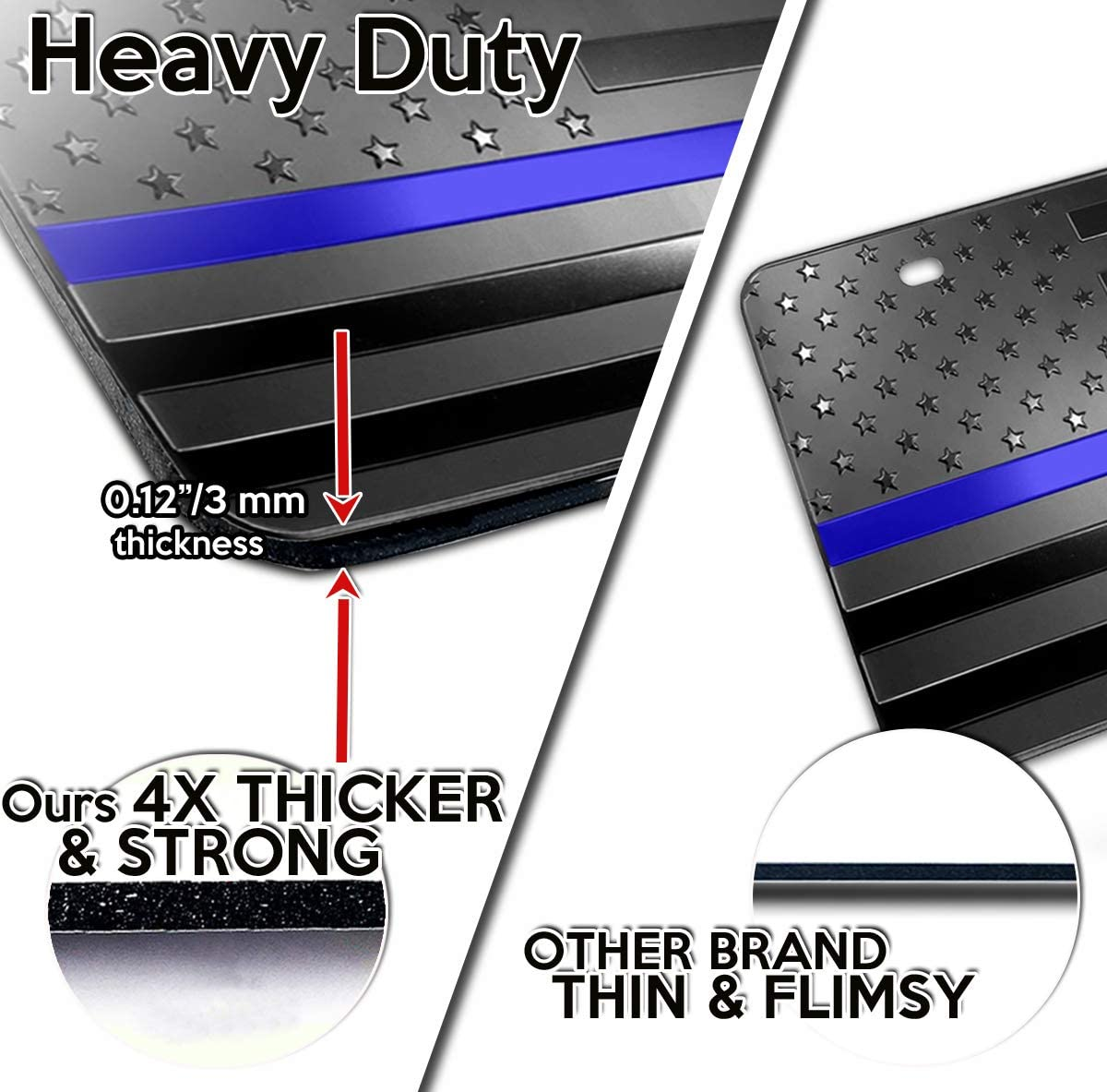 Premium Quality Thick Durable Embossed Monochrome Novelty Great American Pledge of Allegiance Zone Tech Tactical USA Flag License Auto Car Tag Plate with Thin Blue Line