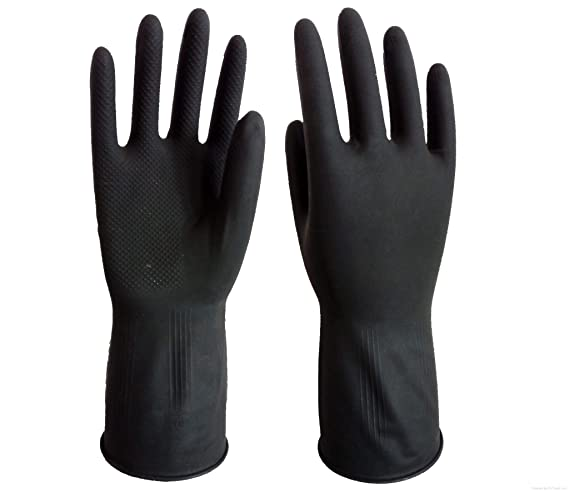 Green Home Reusable Latex Hand Gloves for Kitchen, Free Size, Black