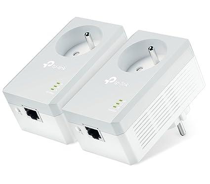 TP-Link CPL AV600 (Débit 600 Mbps), 1 Port Fast Ethernet, Prise Intégrée Version Française, Pack de 2 CPL (TL-PA4015PKIT)