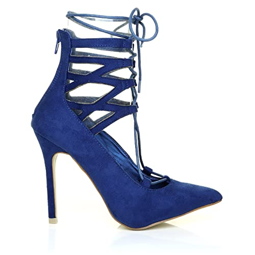 b0d6364c7baf Jane Electric Blue Faux Suede Ankle Lace up Pointed Toe High Heel Shoes   Amazon.co.uk  Shoes   Bags