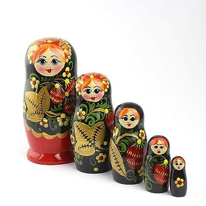 "4/"" tall Merry Christmas 5-Piece Handmade Babushka Matryoshka Nesting Doll"