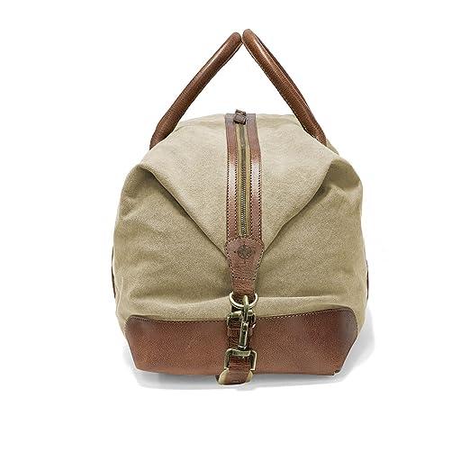 DRAKENSBERG Kimberley Duffel Weekender, sac de voyage, fourre-tout, artisanat, carry-all, toile, canvas, cuir de buffle, expédition, aventure, vintage, beige, marron
