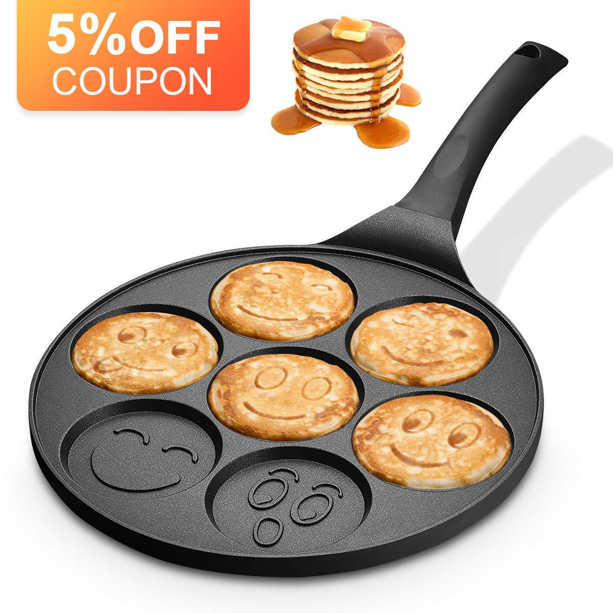 KUTIME Emoji Smiley Cake Griddle Mini Pancake Maker with 7 Flapjack Faces Waffle Maker Non-stick Breakfast Pan for Pancake, Fried Egg by KUTIME