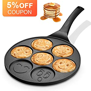 KUTIME Emoji Smiley Cake Griddle Mini Pancake Maker with 7 Flapjack Faces Waffle Maker Non-stick Breakfast Pan for Pancake, Fried Egg