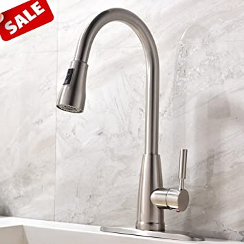 commercial stainless steel single handle pull down sprayer kitchen sink faucet brushed nickel kitchen faucet