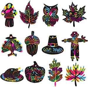 Hohomark Thanksgiving Scratch Paper for Kids,24PCS Fall Rainbow Color Scratch Magic Scratch Off Paper Hanging Ornaments Decorations Art Craft Supplies for Thanksgiving Party Home Classroom Decor