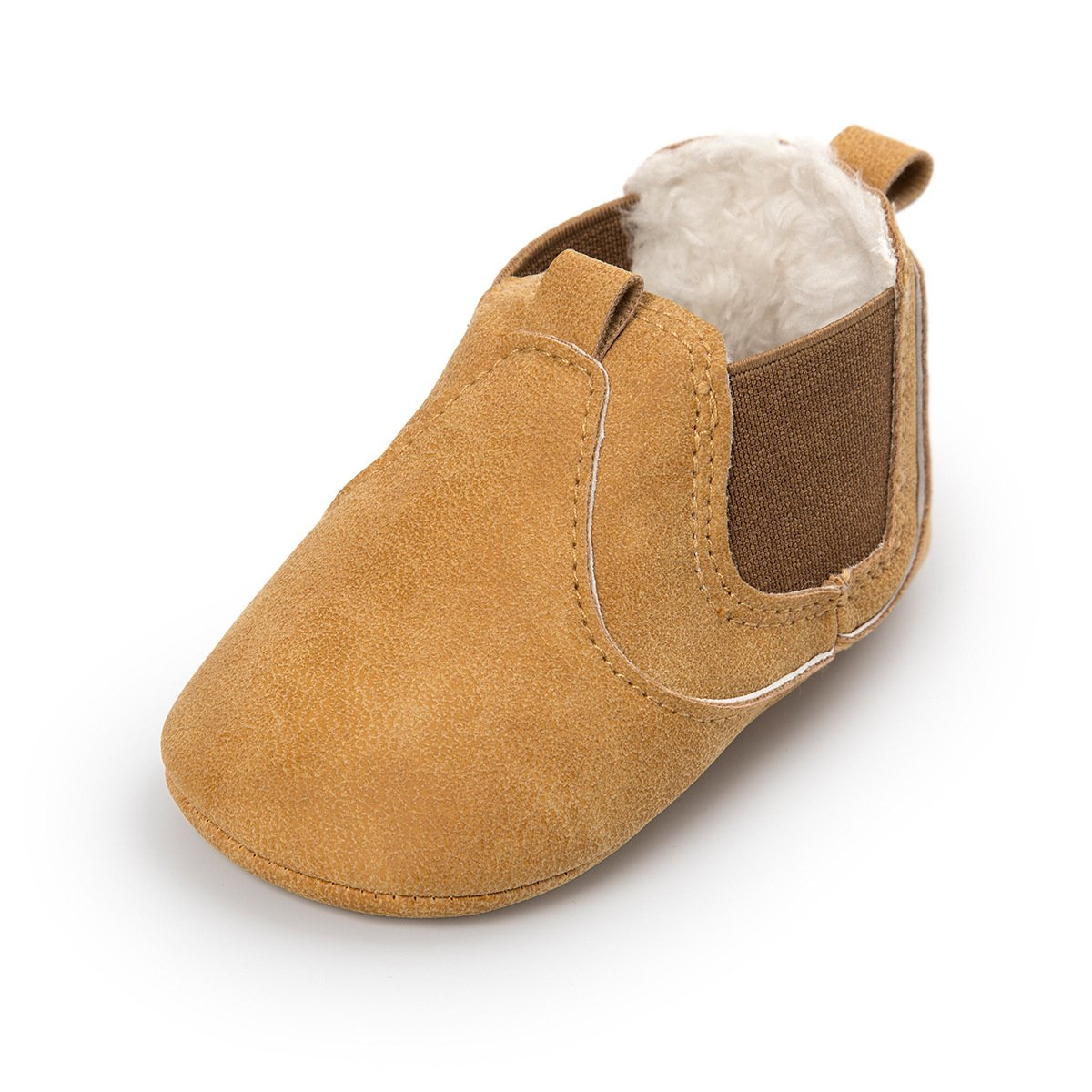 QGAKAGO Baby Girls or Boys Suede Cotton Booties Chelsea Boots Winter Warm Soft Sole Shoes (M: 4.73 inch(6~12 Months), Yellow)