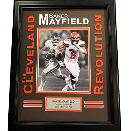 54300e830a9 Image Unavailable. Image not available for. Color: Framed Baker Mayfield  Cleveland Brown Revolution 8x10 Football ...