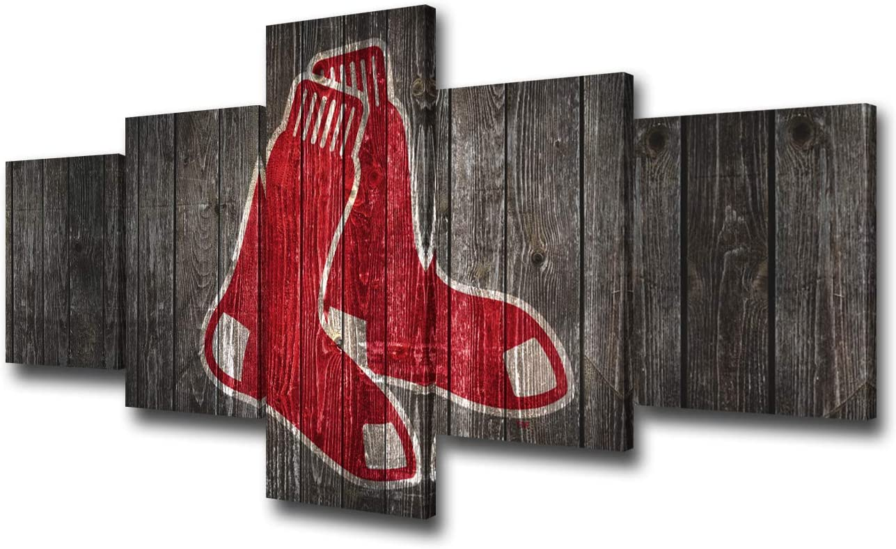 Sports Canvas Wall Art Boston Red Sox Team Logo Painting Major League Baseball Picture for Living Room Professional Baseball Artwork Home Decor Framed Stretched Ready to Hang 5 Panel(50Wx24H inches)