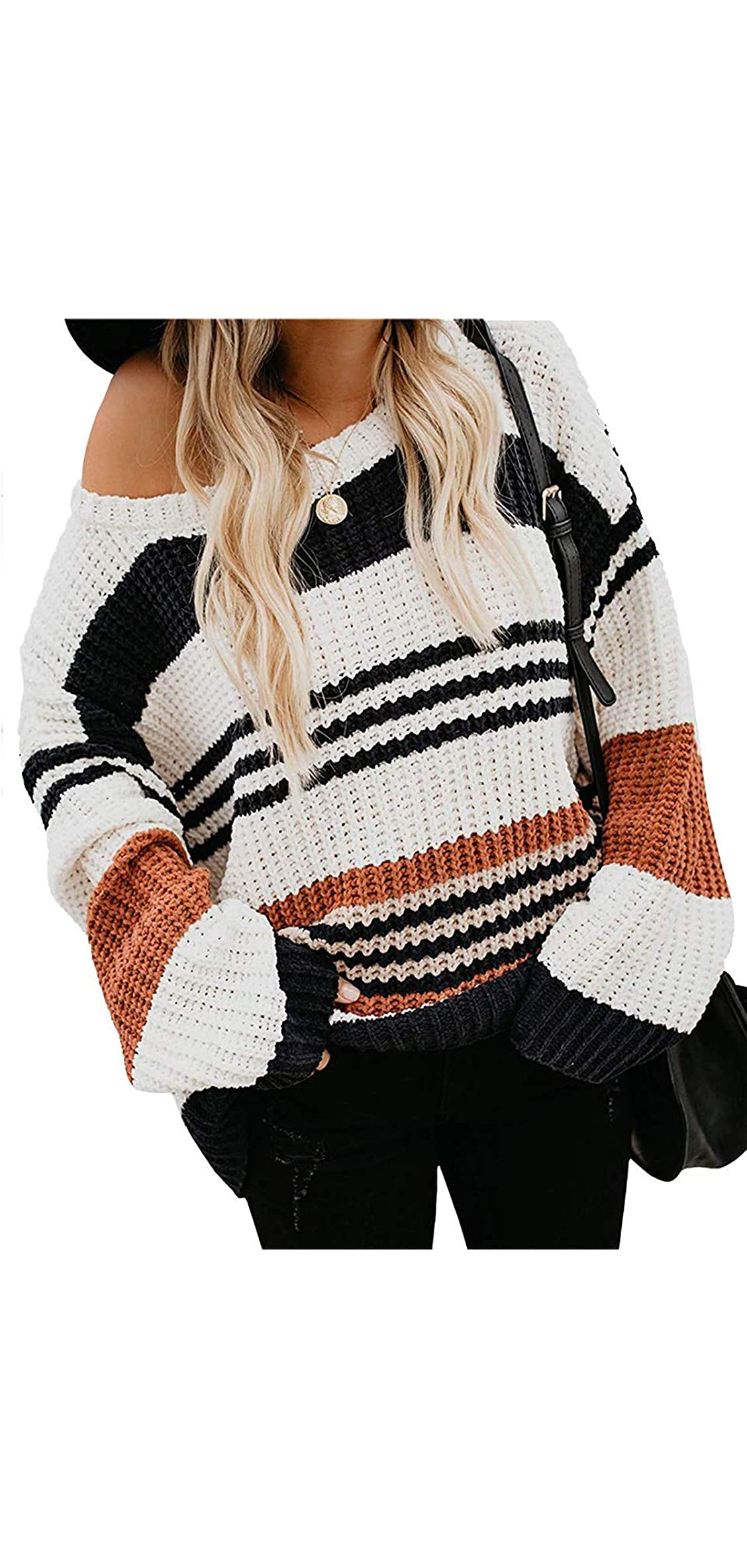 Women's Long Sleeve Crew Neck Striped Color Block Casual