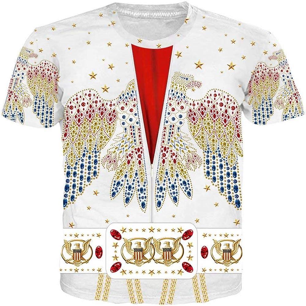 Elvis Presley Camiseta clásica del Mismo Estilo de Manga Corta Casual para Hombres y Mujeres Elvis Cosplay Disfraz